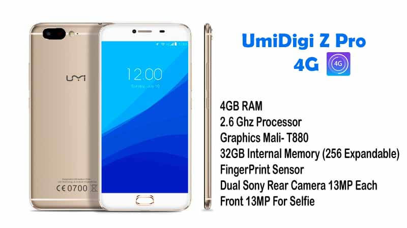 UmiDigi Z Pro 4G Phablet Specifications And Price