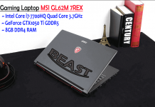 Gaming Laptop MSI GL62M 7REX - i7 GTX1050 Ti GDDR5, 8GB RAM